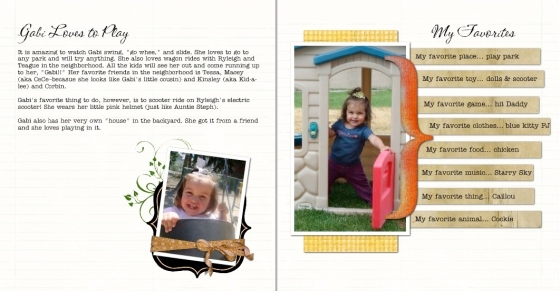 A page spread from a book about my daughter
